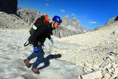Alpinista in Cadini di Misurina Immagini Stock