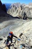 Alpinista in Cadini di Misurina Immagine Stock Libera da Diritti