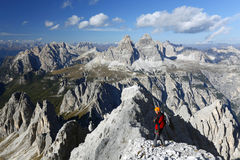 Alpinista in Cadini di Misurina Fotografia Stock