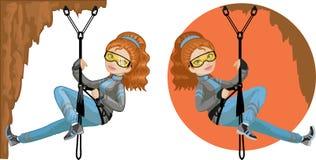 Alpinista caucasiano novo bonito da mulher ilustração royalty free
