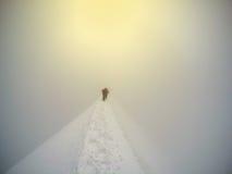 Alpinista che cammina su lungo una cresta nevosa su Mont Blanc Fotografie Stock