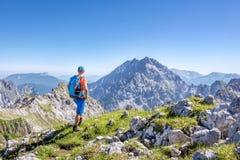 Alpinista che gode della vista nelle alpi austriache Immagini Stock Libere da Diritti