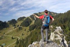 Alpinista con attrezzatura Fotografia Stock