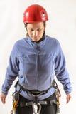 Alpinista con attrezzatura rampicante Fotografia Stock Libera da Diritti