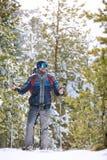 Alpinista con i bastoni per l'escursione in natura Fotografie Stock