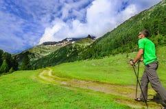 Alpinista con i pali sulla traccia alpina, Austria Fotografia Stock Libera da Diritti