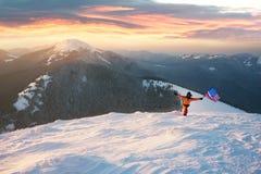 Alpinista con la bandiera di U.S.A. Immagine Stock