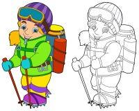 Alpinista de la historieta - página del colorante Imágenes de archivo libres de regalías
