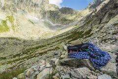 Alpinista dell'attrezzatura Fotografia Stock
