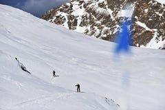Alpinista dello sci in montagne carpatiche Fotografia Stock Libera da Diritti