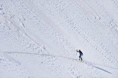 Alpinista dello sci in montagne di Fagaras Fotografia Stock Libera da Diritti