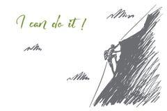 Alpinista disegnato a mano che scala montagna Fotografie Stock Libere da Diritti