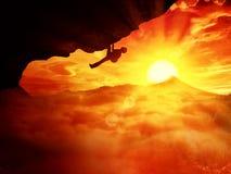 Alpinista do por do sol Imagens de Stock
