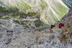 Alpinista in dolomia Immagini Stock Libere da Diritti