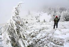 Alpinista em uma fuga Fotografia de Stock Royalty Free