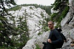 Alpinista, fermata/ Obraz Royalty Free