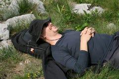 Alpinista/godere della pace e della natura Fotografia Stock Libera da Diritti