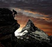 Alpinista a Matterhorn Fotografia Stock Libera da Diritti