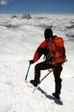 Alpinista in montagne di Caucaso Fotografia Stock Libera da Diritti