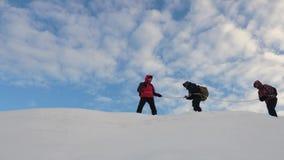 Alpinista podąża each inny wzdłuż śnieżnej grani, podróżnicy wiążący w górę arkany z Turyści iść wierzchołek zdjęcie wideo