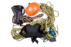 Alpinista, scalatore di montagna, o strumenti del ropejumper Fotografia Stock