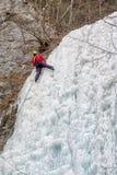 Alpinista sul icefall di Brankovsky, Slovacchia Fotografia Stock