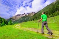 Alpinista in una maglietta verde con i pali, Austria Fotografie Stock