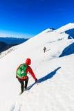 Alpinistas que andam no cume da montanha Fotografia de Stock Royalty Free