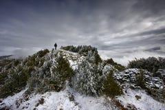 Alpiniste dans la neige Photographie stock libre de droits