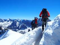 Alpinister i franska fjällängar Royaltyfri Fotografi