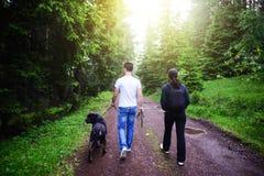 Alpinistes d'amis, marchant en nature Images libres de droits