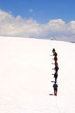 alpinistgrupptoppmöte Royaltyfri Bild