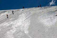 Alpinisti avventurosi su un ghiacciaio Fotografia Stock Libera da Diritti