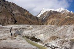 Alpinisti che camminano attraverso il grande ghiacciaio Immagini Stock Libere da Diritti