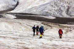 Alpinisti che camminano attraverso il grande ghiacciaio Fotografia Stock Libera da Diritti