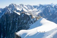 Alpinisti di Mont Blanc Immagini Stock