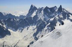 Alpinisti di Mont Blanc Fotografia Stock