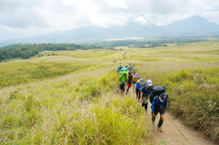 Alpinisti di Rinjani Lombok Indonesia Fotografia Stock