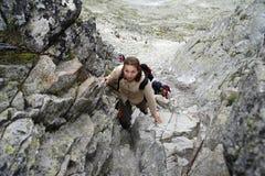 Alpinisti in Slovacchia Fotografia Stock