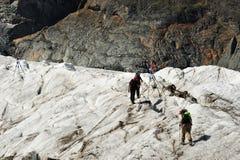Alpinisti sul Gorner-Ghiacciaio Fotografia Stock Libera da Diritti