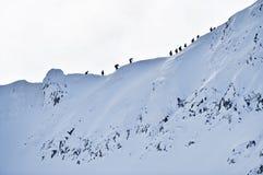 Alpinisti sulla cresta di Fagaras nell'inverno Fotografie Stock