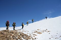 Alpinists at the climbing in Caucasus mountains Royalty Free Stock Images