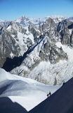 Alpinists climbing in Haute Savoie, France Royalty Free Stock Images