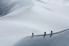 Alpinists on Mont Blanc du Tacul. France Royalty Free Stock Images