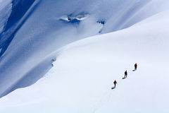 Alpinists on Mont Blanc du Tacul. France Royalty Free Stock Photo