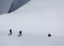 Alpinists on Mont Blanc du Tacul. Climbing alpinists on Mont Blanc du Tacul, France Stock Photography