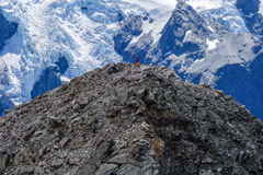Alpinists on Mount Ollivier Royalty Free Stock Image