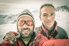 Alpinists selfie on the top Stock Image