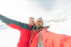 Alpinists selfie on the top Royalty Free Stock Photos