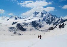 Alpinists tourists on snow mountain Royalty Free Stock Images